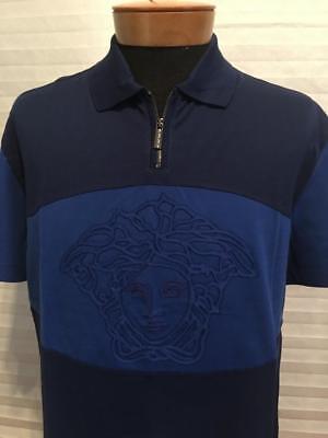 $695 NWT Authentic VERSACE Two Tone Blue MEDUSA Head Applique Polo Shirt 6XL