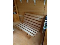 Double pine futon base. No Mattress included. Good condition. COLLECTION ONLY