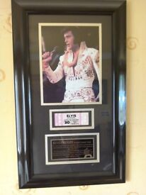 Elvis Presley Unused Concert Ticket in Display Frame with rare photo and story in plaque.