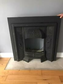 Black cast iron heavy duty fireplace and grill for fire electric or open surround looking