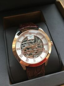 Rotary Les Originales Jura Mens Rose Gold Brown Leather Watch - Box and Papers - RRP £575
