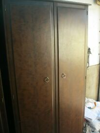 QUALITY 'STAG' DOUBLE WARDROBE. STRONG, SOLID & STURDY. HANGING & SHOE RAIL. VIEW/DELIVERY POSSIBLE
