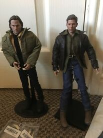 Supernatural Sam and Dean Winchester 1/6 Scale figures with display stands and extra outfit!