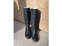 Ladies UGG Liberty Leather Tall Boots Dark Blue