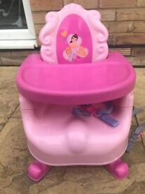 Pink princess booster seat with tray