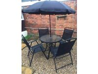 Garden Furniture Set - table, 4 chairs and parasol