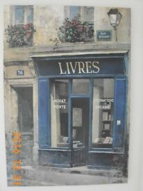 'LIVRES' LARGE CANVAS WALL ART BY CHIU TAK HAK. FRENCH STREET / CAFE SCENE. IMMACULATE.
