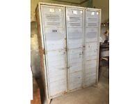 Vintage BIG Metal Factory Storage Lockers Wardrobe Cabinet Retro Industrial