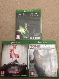 Xbox One Alien Isolation, The Evil Within and Tombraider