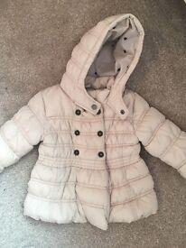 Girls Next Beige Winter Coat. Size 12-18 Months.