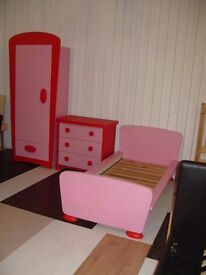 Pink Ikea mammut bedroom set; includes wardrobe, chest of drawers, toddler bed and mattress.