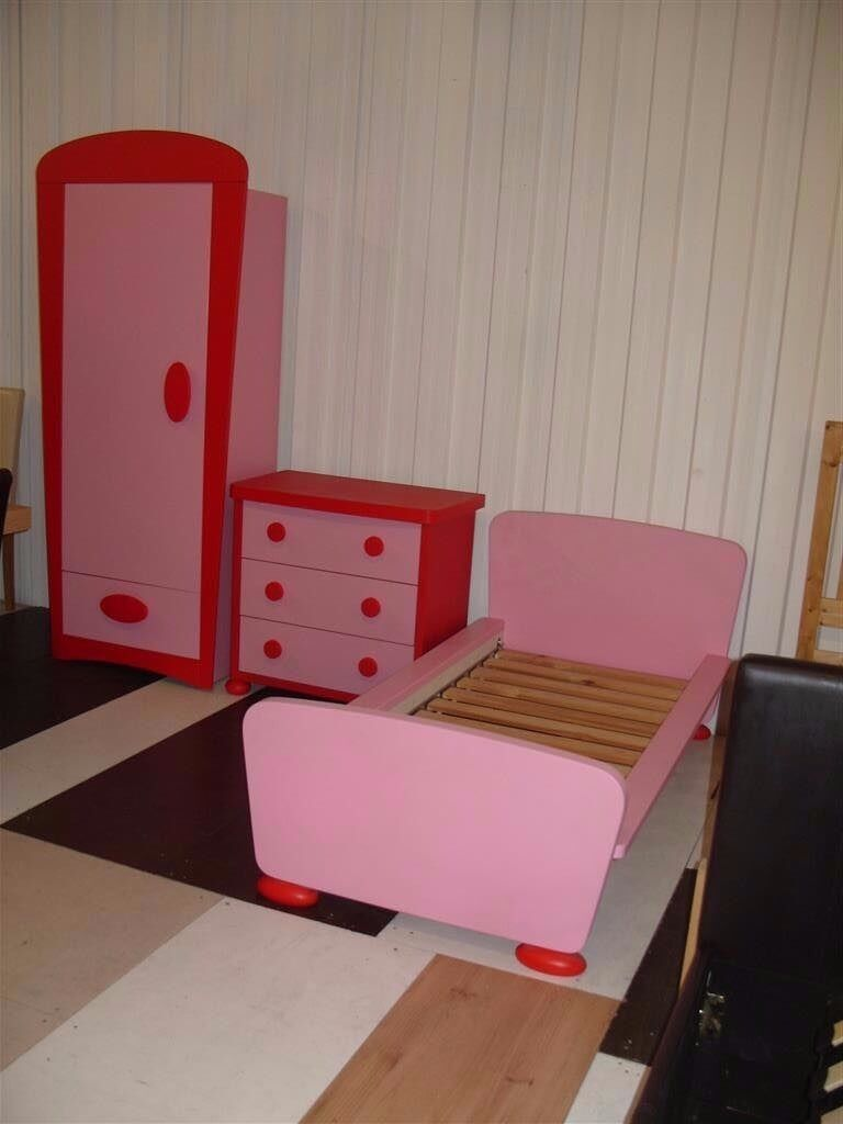 Pink Ikea Mammut Bedroom Set Includes Wardrobe Chest Of Drawers Toddler Bed And