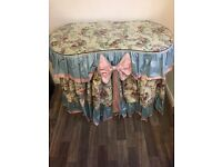 Dressing table, kidney shaped, blue & pink chintz