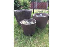 Terracotta garden plant pots x3