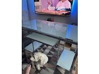 Large white glass desk swap for smaller desk or sell