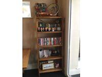 Pair of solid oak five-shelf bookcases/shelf units