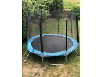 10ft TRAMPOLINE WITH LADDER - GOOD CONDITION - WITH SAFETY NETTING AND COVER
