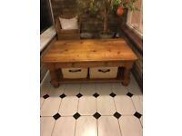 Solid pine, rustic coffee table with 2 drawers and 2 deep storage baskets