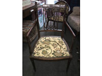 Pretty Antique Victorian Ornately Carved Mahogany Carver/Side/Hall/Bedroom Chair
