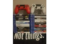 PS4 Pro, 2 controllers and 26 games.