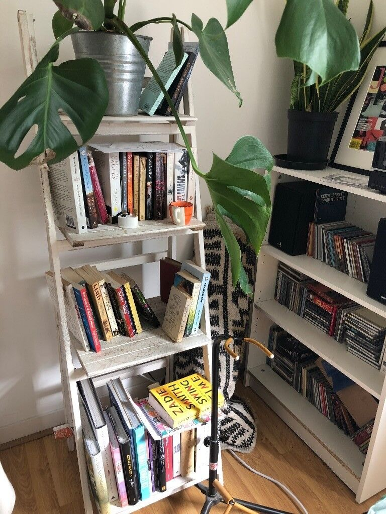 White Stain Vintage Ladder Bookshelf