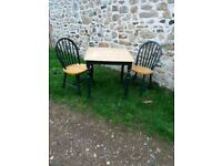 Small pine kitchen table with chairs