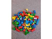 Large selection of wooden bricks