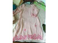 Beautiful two pink kameez dress size 6 or petite 8 used great condition