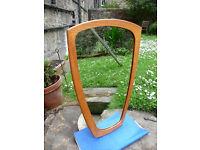Vintage 1950s/60s Danish Asymmetrical Teak Mirror Vintage Modernist Mid Century