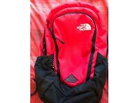 North Face backpack travel bag red laptop