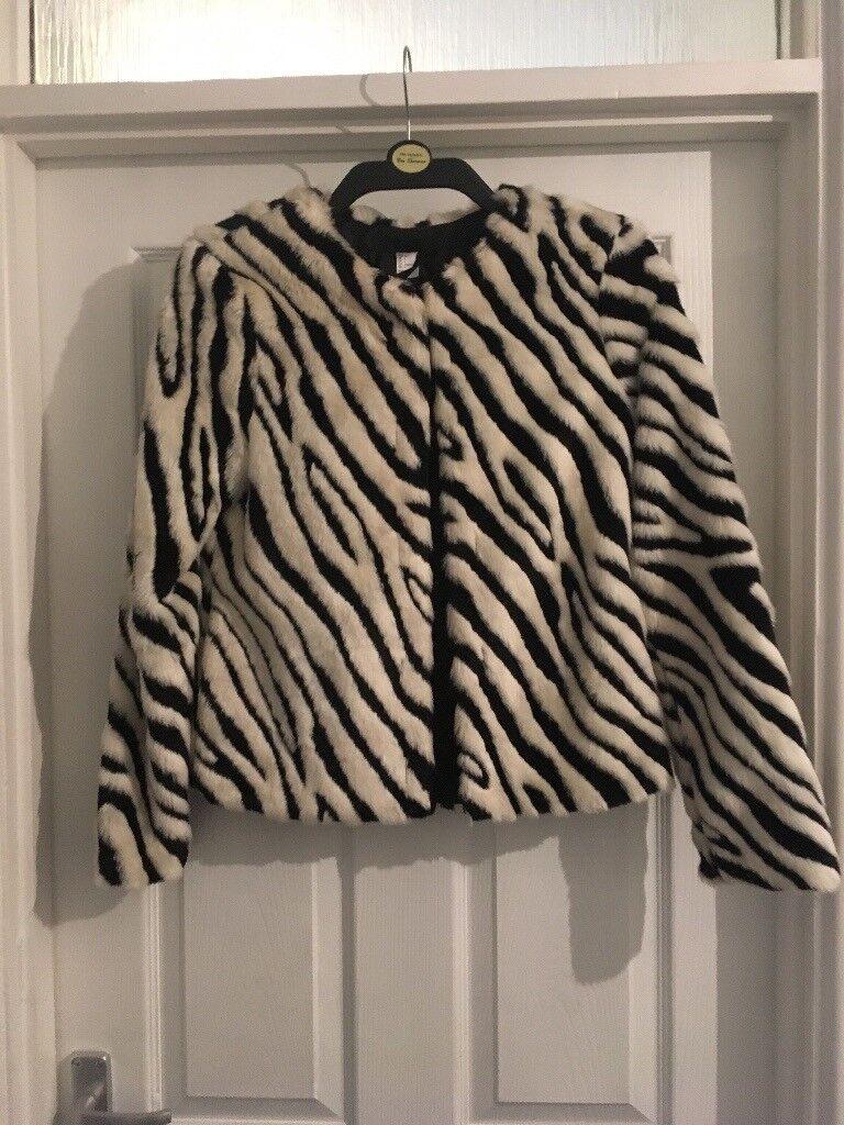 Black and white zebra stripe fur coat
