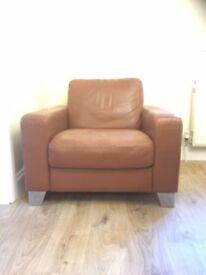 Natuzzi Leather Chair and Pouffe