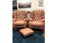 Pink chesterfield chair set delivery available