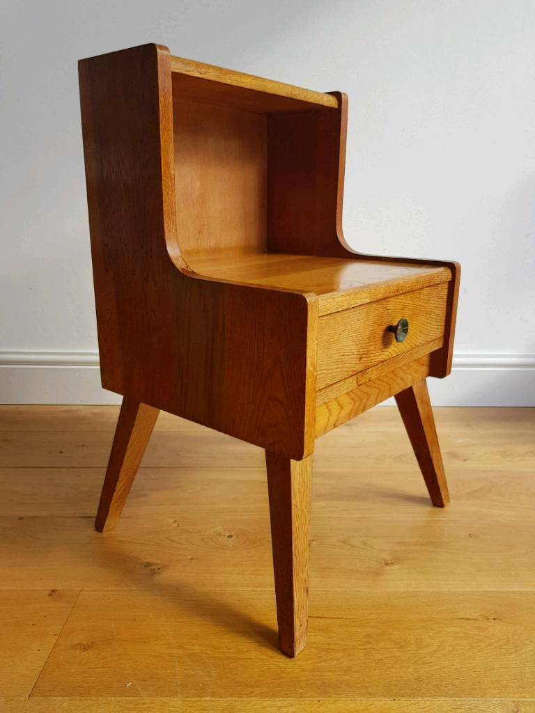 Retro Style Container Bedside Table: Vintage Retro Mid Century Bedside Or Side Table