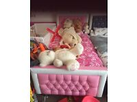 SINGLE PINK LEATHER BED WITH MATTRESS