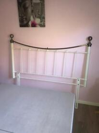 Kingsize cream and brass metal headboard