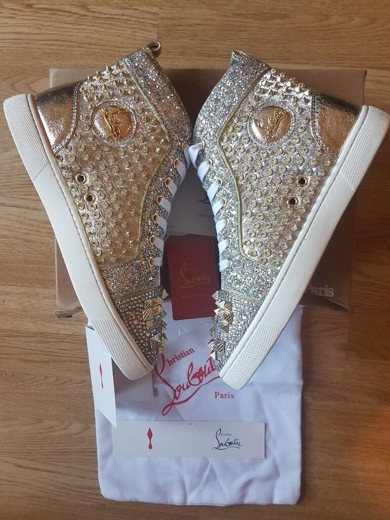 8c41ac752a2 australia rent christian louboutin shoes bavilon salon 9d384 6b322  good  christian louboutin mens calf sneakers mixkeoshell flat metal glitter  silver gold ...