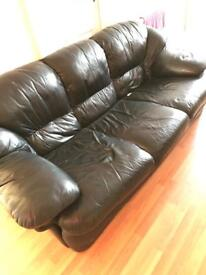 3 seater black leather sofa bed