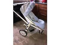 Quinny white and gravel grey pushchair pram with carry cot