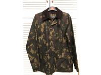 Barbour Bourne Camo Waxed Jacket Size Small