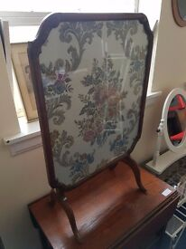 Vintage Tapestry Fire Screen/Flip up Table