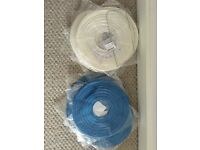 Round Paper Lanterns, Ivory & Royal Blue - Brand New