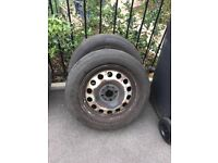 Mini Steel Wheels 2 of with excellent matching M+S tyres 175/65R15 4 stud wheels ideal for winter