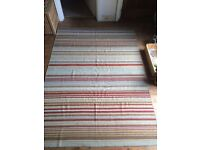 HANDMADE Large Pure Natural Wool Multi-Colour Striped Rug - 170 x 230cm (CAN POST or DELIVER)