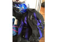 Like new Buffalo motorcycle jacket and dr bike helmet