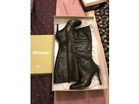 Black leather knee high boots from Dune size 6