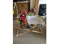 Moses basket with stand and marvel cover