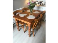 Small farmhouse dining table and 4 chairs