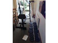 Bench Press with Leg, Preacher Pad & Lat Pulldown Attachments & 108kg Cast Iron Barbell Weights Set
