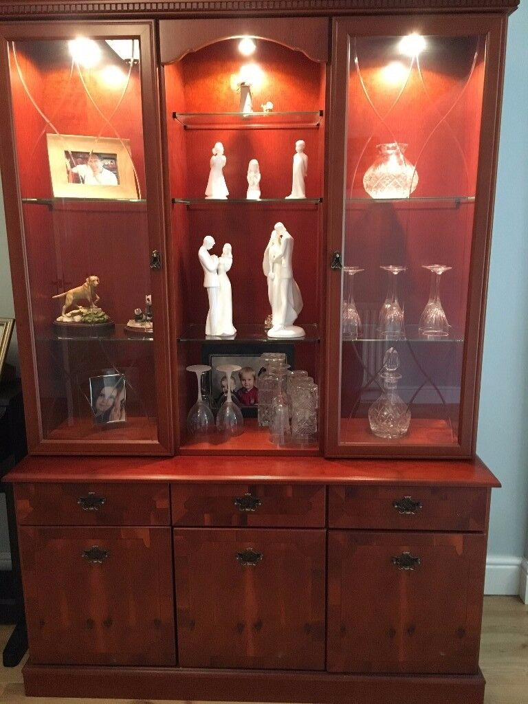 Immaculate yew wood display cabinet